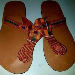 African print Ghana kente sandals